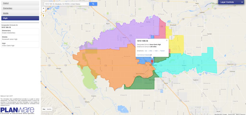 LocateMySchool: Web-based school locator and attendance boundary map