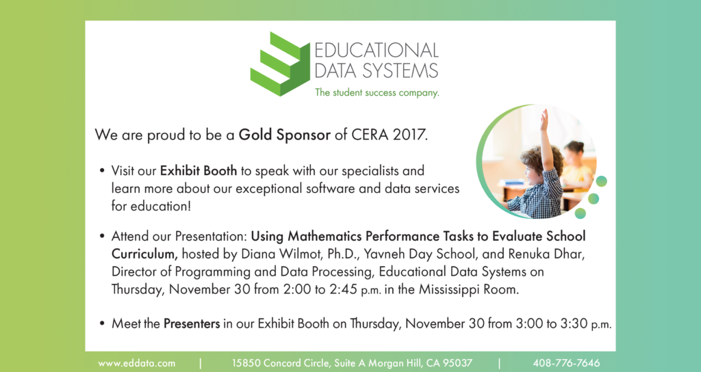 Educational Data Systems at CERA 2017